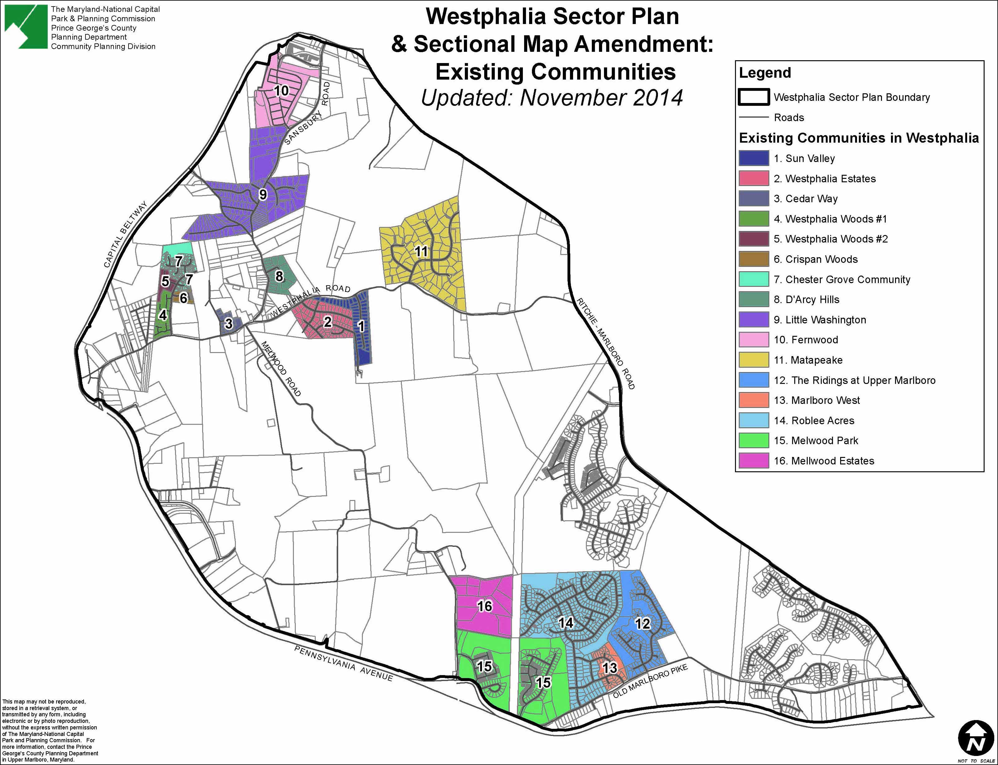 Map of Westphalia Existing Communities