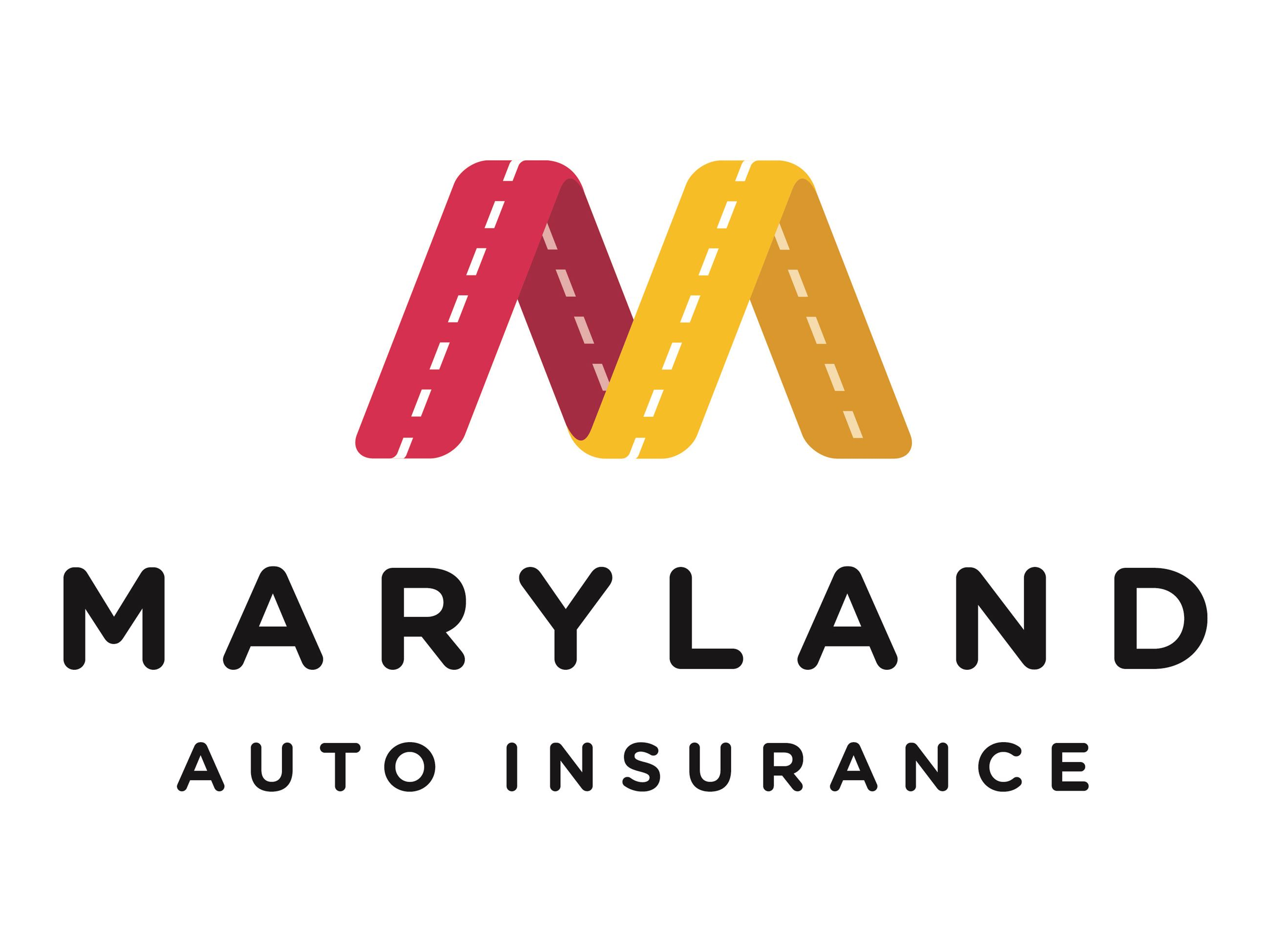 Logo for Maryland Auto Insurance with a large letter M written in red and yellow looking like a road