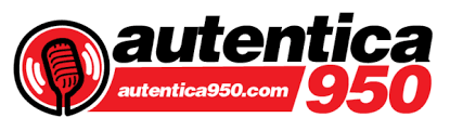 Logo for Autentica 950 written in red and black with drawn microphone on the left.
