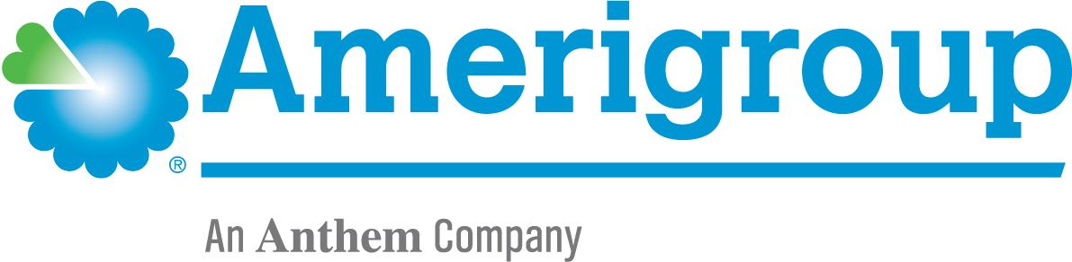Logo for Amerigroup written in blue with a flower and green heart on the left.