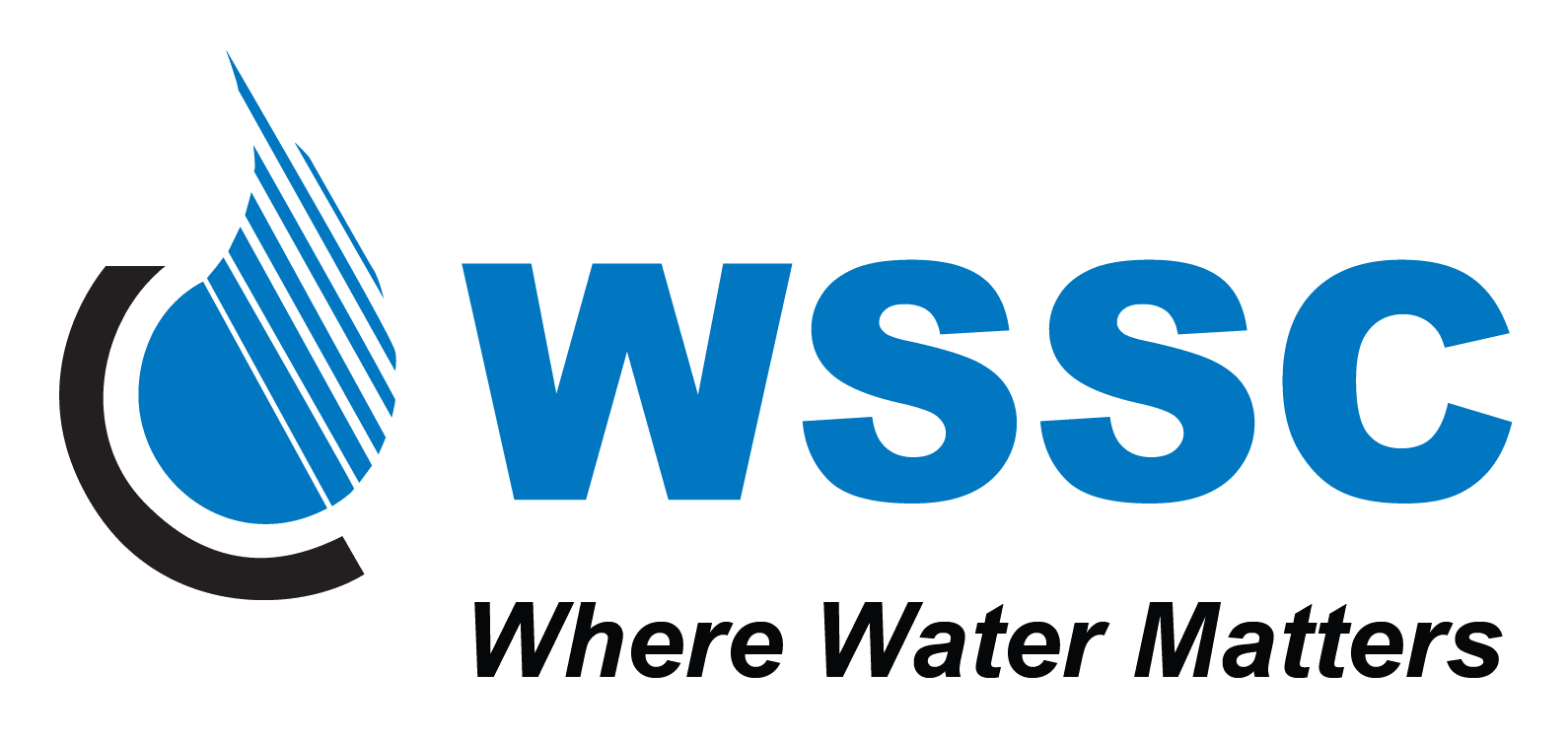 Logo for WSSC written in blue with a drawn water drop on the left.