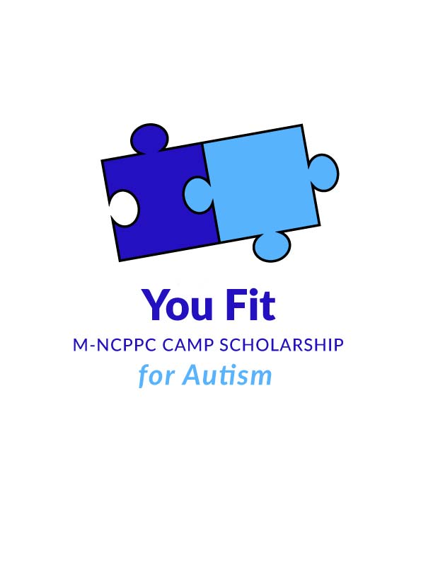 Logo for You Fit Scholarship for Autism featuring light and dark blue puzzle pieces