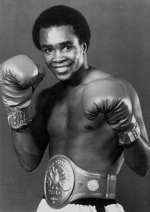 Sugar Ray Leonard wearing boxing gloves