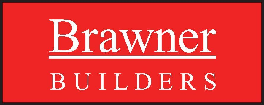 Logo for Brawner Builders written in white inside of a red box with a black border.