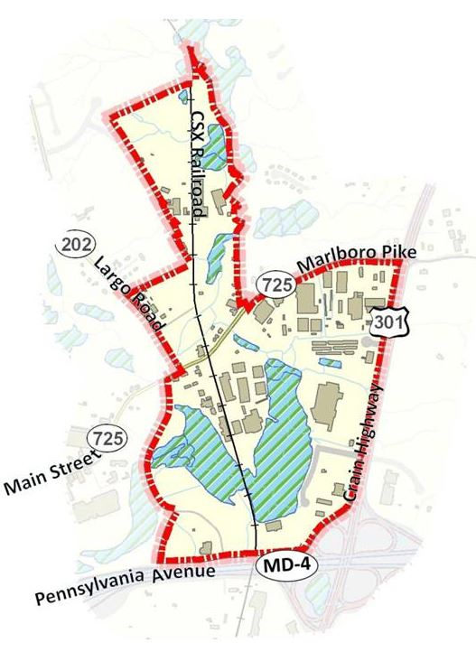 Map of the Greater Upper Marlboro Revitalization and Development Strategy Project